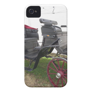 Old-fashioned horse carriage on green grass iPhone 4 Case-Mate case