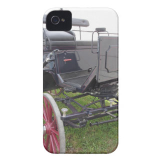 Old-fashioned horse carriage on green grass iPhone 4 Case-Mate cases