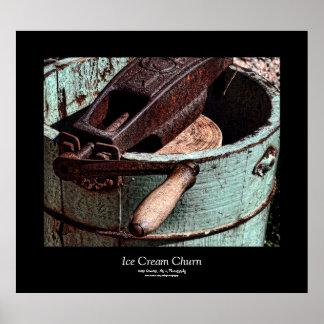 Old Fashioned Ice Cream Churn Black Border Poster