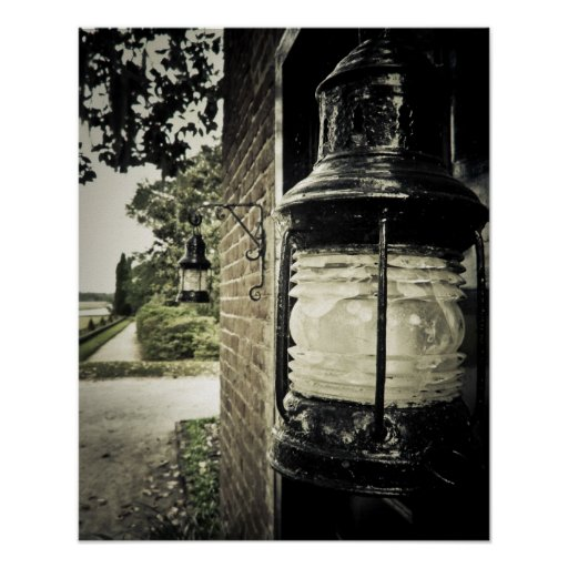 Old-Fashioned Lantern on a Brick Wall Poster