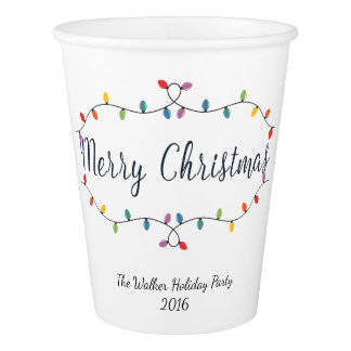 Old Fashioned Lights Merry Christmas Paper Cup