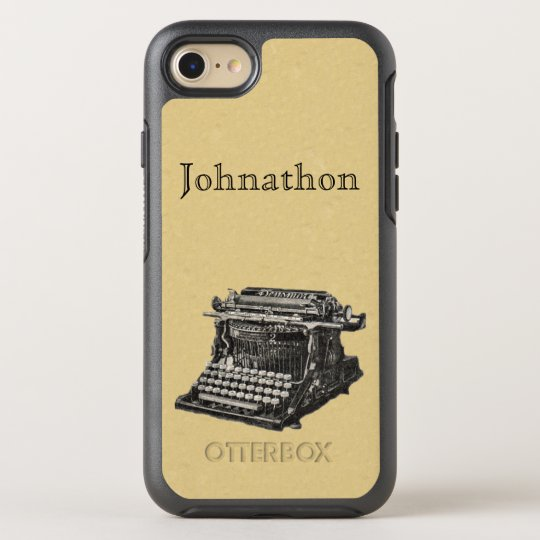 Old fashioned Manual Typewriter in Black White OtterBox Symmetry iPhone 7 Case
