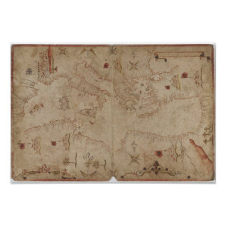 Old fashioned Mediterranean sea map Poster