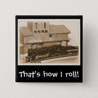 Old Fashioned Model Train Photo 2 Inch Square Button