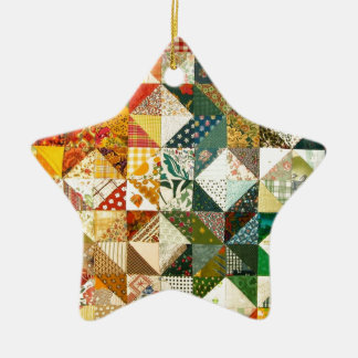 Old Fashioned Patchwork Quilt Ceramic Ornament