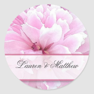 Old fashioned peony classic round sticker