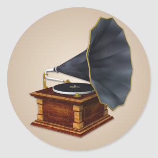 Old Fashioned Phonograph Classic Round Sticker