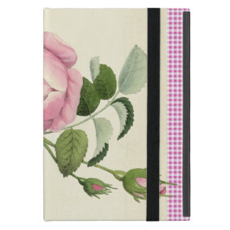 Old Fashioned Pink Rose Linen Gingham Decorative iPad Mini Cases