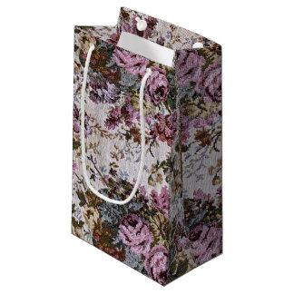 Old-fashioned Pink Rose Tapestry Small Gift Bag