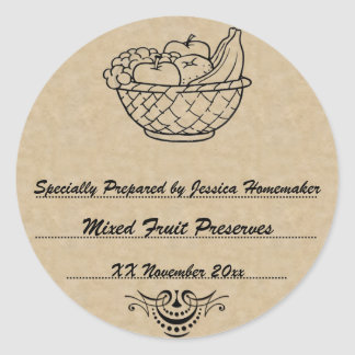 Old Fashioned Preserves or Jam Canning Template Round Sticker