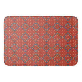 Old Fashioned Red Pattern Bath Mat