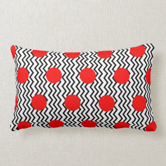 Old Fashioned Red Spots and Black Chevron Lumbar Pillow