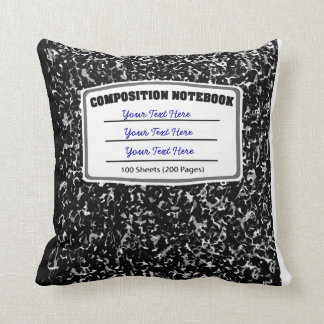 Old Fashioned Retro Composition Notebook Throw Pillow