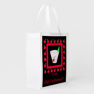 Old Fashioned Retro Drink Red Cherries on Black Market Tote