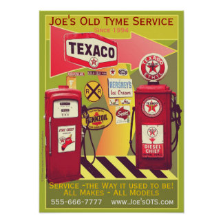 Old Fashioned Retro Gas / Service Station Poster