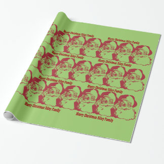 Old Fashioned Retro Santa Add Your Own Message Wrapping Paper