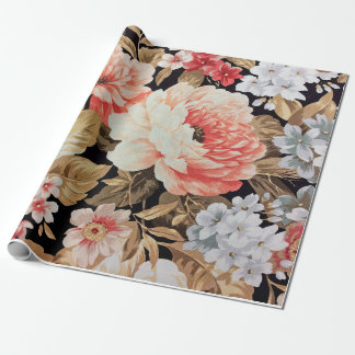 Old-fashioned Rose Floral Wrapping Paper
