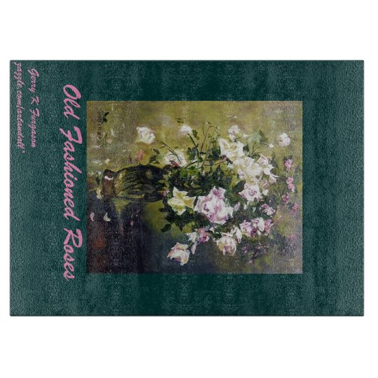 """""""OLD FASHIONED ROSES GLASS CUTTING BOARD"""" CUTTING BOARDS"""