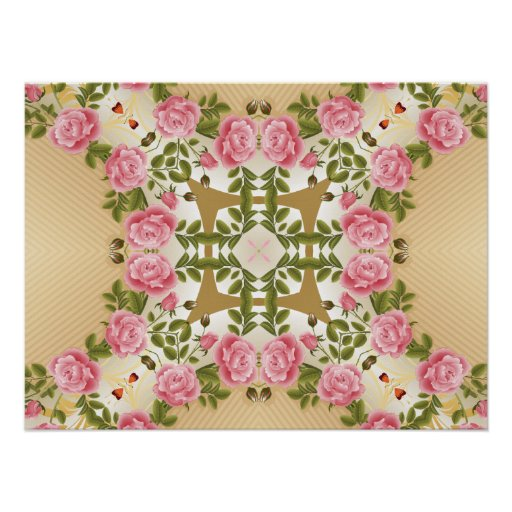 Old Fashioned Roses Golden Accents Print