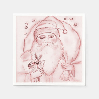 Old Fashioned Santa in Cranberry Disposable Napkin
