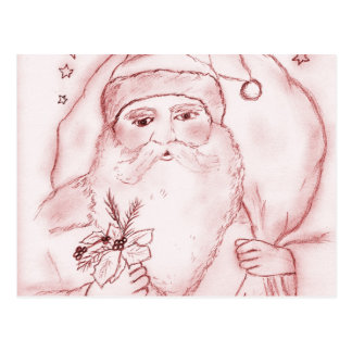 Old Fashioned Santa in Cranberry Postcard