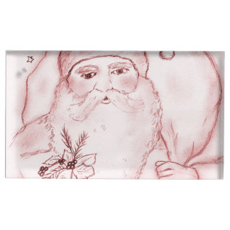 Old Fashioned Santa in Cranberry Table Card Holder