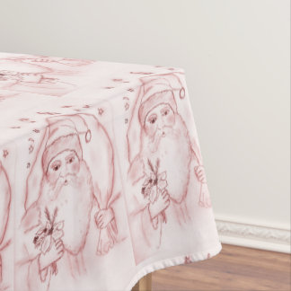 Old Fashioned Santa in Cranberry Tablecloth
