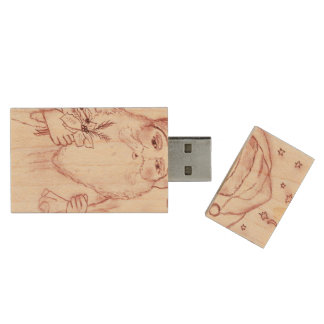 Old Fashioned Santa in Cranberry Wood USB Flash Drive