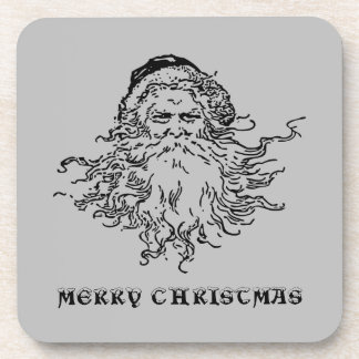 Old-Fashioned Santa Merry Christmas Gray Coaster