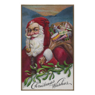 Old Fashioned Santa with Pipe Poster