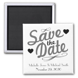 Old Fashioned Save The Date Magnet (Gray / Black)