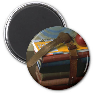 Old Fashioned School Books 2 Inch Round Magnet