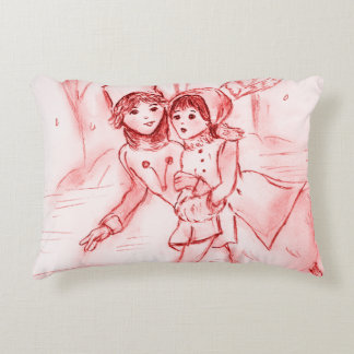 Old Fashioned Skaters in Red Accent Pillow