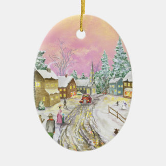 Old Fashioned Snowland Christmas Ceramic Ornament