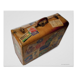 old fashioned suitcase with travel stickers poster