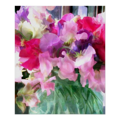 Old Fashioned Sweetpeas in a Jar Posters