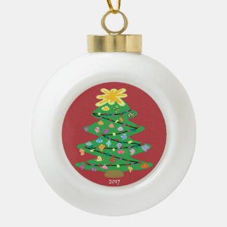 Old Fashioned Tree Ceramic Ball Christmas Ornament
