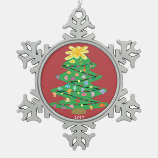 Old Fashioned Tree Snowflake Pewter Christmas Ornament