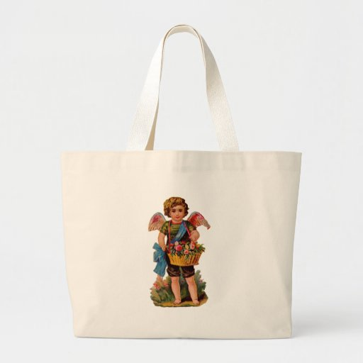 Old Fashioned Valentine Cupid With Roses Tote Bags