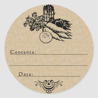 Old Fashioned Vegetable Canning Blank Template Round Sticker