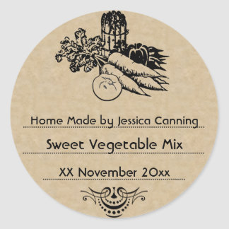 Old Fashioned Vegetable Canning Template 2 Round Sticker