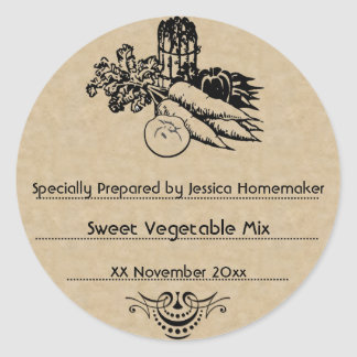 Old Fashioned Vegetable Canning Template Round Sticker