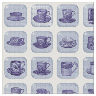 Old Fashioned Vintage Blue China Teacup Pattern Fabric