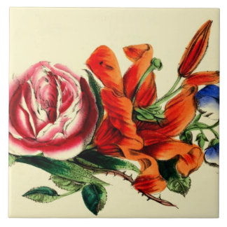 Old Fashioned Vintage Floral | Watercolor Lily Ceramic Tiles