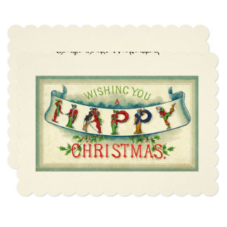 Old Fashioned Vintage Happy Christmas Illustration Card