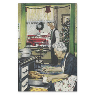 Old Fashioned Vintage Home Kitchen Christmas Tissue Paper