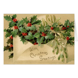 Old Fashioned Vintage Victorian Merry Christmas Card