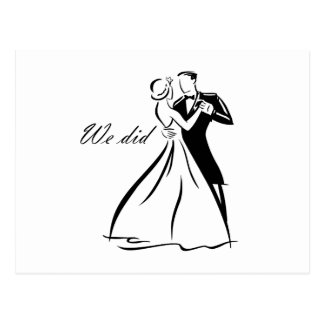 Old Fashioned Wedding Couple dancing Postcard