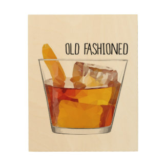 Old Fashioned Whiskey Bourbon Wood Wall Art Wood Canvases