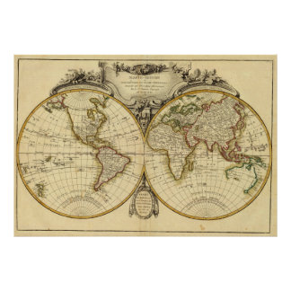 Old Fashioned World Map (1782) Poster
